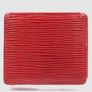 Preowned Louis Vuitton Red Epi Coin Wallet